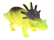 Triceratops dinosaur toy. A Triceratops dinosaur plastic toy isolated on white studio background Royalty Free Stock Photo