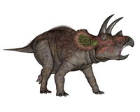 Triceratops dinosaur walking - 3D render Stock Photo