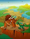 Triceratops en roofvogel met landschapsachtergrond stock illustratie