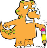 Triceratops holding a pencil Stock Photography
