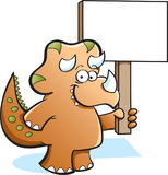 Triceratops holding a sign Royalty Free Stock Image