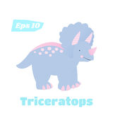 Triceratops isolated vector illustration. Cute dinosaur in cartoon style Stock Photography