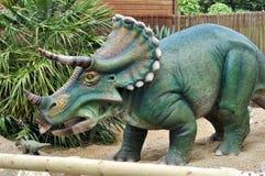 Triceratops model dinosaur. Triceratops dinosaur model standing in gravel Royalty Free Stock Images