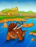 Triceratops på flodbakgrunden stock illustrationer