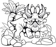 Triceratops préhistorique mignon, illustration drôle illustration stock