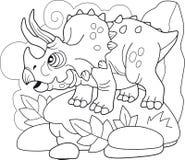 Triceratops prehistórico del dinosaurio, libro de colorear, ejemplo divertido libre illustration