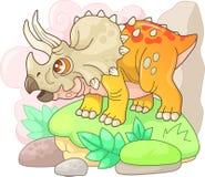 Triceratops prehistórico lindo del dinosaurio, ejemplo divertido stock de ilustración