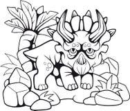 Triceratops prehistórico lindo, ejemplo divertido stock de ilustración