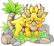 Triceratops prehistórico lindo, ejemplo divertido ilustración del vector