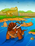 Triceratops on the river background stock illustration