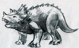 Triceratops sketch Royalty Free Stock Image