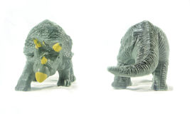 Triceratops toy front and back isolated on white background. Triceratops toy front and back isolated on white background Royalty Free Stock Photography