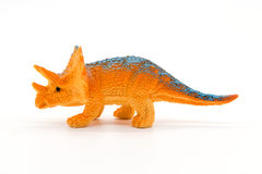Triceratops toy model on white background. Closeup Stock Image