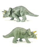 Triceratops toy sides isolated on white background. Triceratops toy showing both sides isolated on white background Royalty Free Stock Image