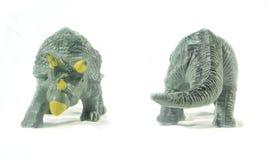 Triceratops zabawki przód i plecy odizolowywający na białym tle Fotografia Royalty Free