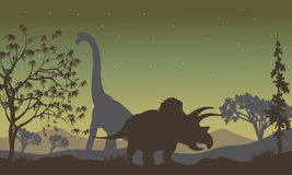 Triceratopsand Brachiosaurus silhouette Royalty Free Stock Photo
