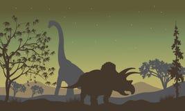 Triceratopsand Brachiosaurus silhouette Royalty Free Stock Photo
