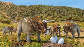 Triceratopsdinosaurier royaltyfri illustrationer
