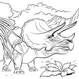 Triceratopsdinosaurier für Malbuch - Illustration Lizenzfreies Stockbild