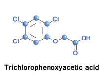 Trichlorophenoxyacetic acid synthetic auxin. Trichlorophenoxyacetic acid a synthetic auxin, is a chlorophenoxy acetic acid herbicide used to defoliate broad Royalty Free Stock Photos