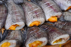 Trichogaster pectoralis. Dried fishes ready for fry, Thailand market Stock Photos
