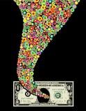 Trichter der Farbe und des Dollarscheins Stockfotografie