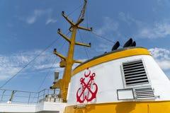 Trichter eines Passagier-Schiffs Sehir Hatlari, Istanbul, die Türkei stockfoto