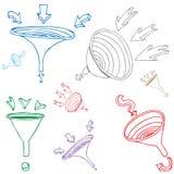 Trichter-Pfeil-Zeichnungs-Set Stockfoto