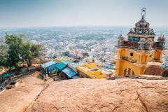 Trichy cityspace from Rockfort in India. Trichy cityspace from Rockfort, Thayumanaswami temple in Tiruchirappalli, India royalty free stock images