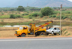 TRICHY, INDIA - FEBRUARY 15: After the accident, the car raise e Royalty Free Stock Image