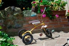 Triciclo antico in giardino Fotografia Stock