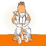 Triciclo di crives di Little Boy Materiale illustrativo variopinto dell'annata di vettore Immagine Stock Libera da Diritti