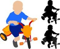 Triciclo di guida del bambino Immagini Stock Libere da Diritti
