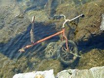 Triciclo do bebê afogado sob a água Imagens de Stock