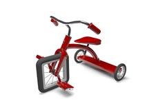 Triciclo rojo con el defecto de diseño ilustración del vector