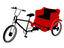 Triciclo rosso del pedicab Fotografia Stock Libera da Diritti