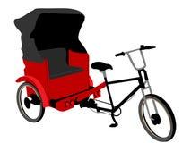 Triciclo rosso del pedicab Fotografia Stock
