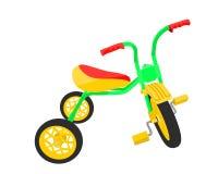 Triciclo verde dei bambini di vettore con le ruote gialle Fotografia Stock
