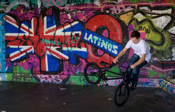Trick cyclist at London Skate Park Royalty Free Stock Photo