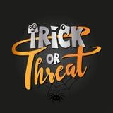 Trick eller fest - halloween citationstecken på svart bakgrund vektor illustrationer