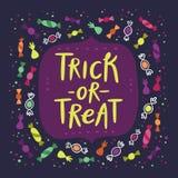 Trick- eller festgodiskort royaltyfri illustrationer