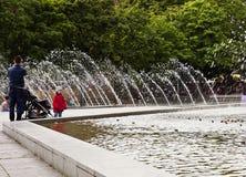 Trick fountains in Alexanderplatz, Berlin Stock Photos