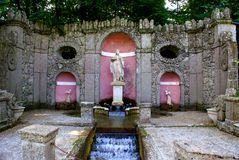 Trick Fountains Tour in Salzburg. Water fountain in the Trick Fountains Tour,in the  park of the  Castle Hellbrunn in Salzburg in Austria Royalty Free Stock Images