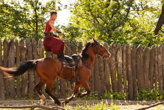 Trick on the galloping horse Stock Photography
