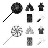 Trick, musik och annan tillbehör på partiet Partiet och partits ställde in samlingssymboler i svart, monochromstilvektor Royaltyfri Fotografi