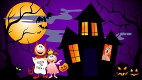 Trick-oder Festlichkeit-Halloween-Szene lizenzfreie abbildung