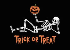 TRICK OR THREAT RESTING SKELETON WITH PUMPKIN JACK-O-LANTERN 2 vector illustration