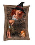Trick or Track Halloween Witch. A little witch called out of the frame Trick or Track - a funny Halloween bag for everyone Royalty Free Stock Photos