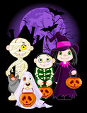 Trick or Treat. A group of cute kids and dog, dressed up to trick or treat on Halloween night. All characters on separate layers vector illustration