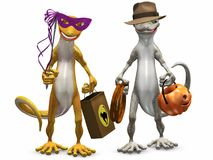 Trick or Treat. Two Gecko's dressed up for Halloween.  3D render Stock Photography